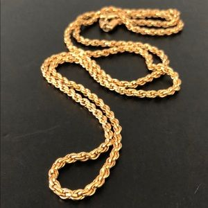 VINTAGE GOLD PLATED ROPE LONG CHAIN NECKLACE